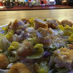 Crispy chicken salad-peppers added