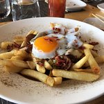 Poutine with fried duck egg