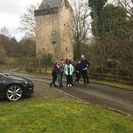 all of us outside the tower after a superb stay.