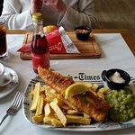 Fish, chips, mushy peas & a pot of tea, a British classic!