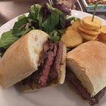 A snack from the lounge bar (steak sandwich!)