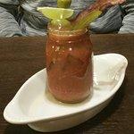 Bloody Mary - fabulous! rimmed salt, pickle, crisp bacon, 2 large green olives & lime slice - TA
