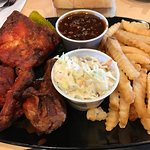 Johnnys bbq in mission KS. Got the slab of ribs. And of course tried the smoked/fried chicken! T