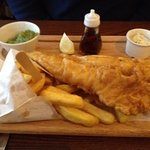 Generous portion of fish and chips