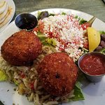 Crab cakes with eggplant risoto