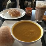 Tasty carrot soup and roll, hot chocolate, and yummy Skillingsboller (Norway's cinnamon roll)