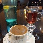Turkish coffee, green tea, water