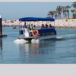 Boat ferry to the beach at El Cid Marina