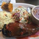 Poblano filled w/beef fajita, yucatan slaw, bean soup, rice & wife put a nacho on plate :)