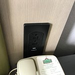 Power outlets with USB near the bed