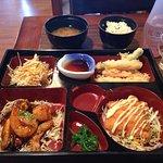 The Seafood Bento Box - see lovely sparkling sake !!!