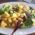 Fresh Caribbean vegetables in pineapple sauce