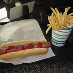 Lunch of hot dog and chips