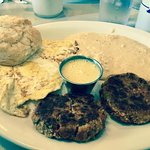 Crawfish Cakes, Eggs, Cheese Grits, Biscuit