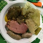 The food was absolutely fabulous: corned beef, cabbage, bangers, salad and amazing bread pudding