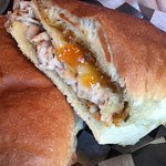 Roasted Pork Loin and Gruyere with apricot horseradish spread.