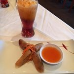 Thai Iced Tea, Spring Rolls