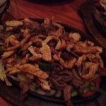 Double fajita with Shrimp, beef & chicken. Feeds 2-3 people.