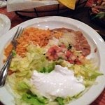 Most entrees come with a condiment plate of rice, re-fried beans, pico & lettuce with sour cream
