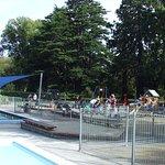 children play and swim