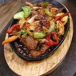 Mongolian Lamb. Very nice and good fresh veggies