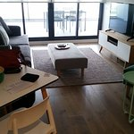 Lounge area. Foxtel tv.