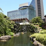 View of the hotel from the Japanese garden