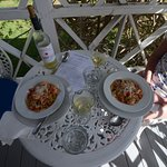 Spaghetti and shrimps on the terrace