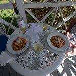 Spaghetti and shrimps on the terrace