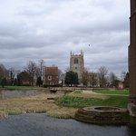 Castle moat, guard house, and Collegiate Church.