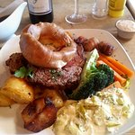 Roast rib of beef. Yes, there is loads more veg hiding behind the yorkie!