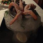 Salmon  topped with avocado pico de gallo jumbo shrimp cocktail  Caesar salad birthday dessert