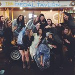 At the end of our Pedal Tavern Tour and a great start to the bachelorette party weekend.