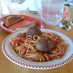 Spaghetti w/ Meatballs w/ limp toast; enough for three servings!