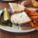 Corned beef, pastrami & chopped liver and sweet potato fries