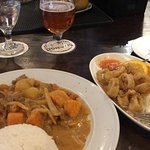 Musamon curry with beef and a Fat Tire draft.