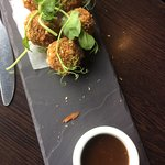 Starter of haggis bon bons (I had pinched one)