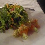 Mixed green salad with a honey citrus dressing