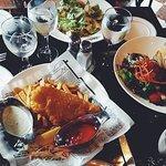 caesar salad, lobster roll, fish & chips