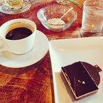Opera cake and coffee