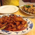 chow mein and sweet and sour chicken