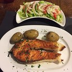 Salmon with potatos and salad- it was very good