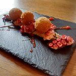 Octopus, smoked aubergine, aubergine and honey croquettes and seaweed