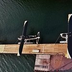 An awesome aerial view of our float plane dock. Front-Otter6868B Middle-Beaver7336 Back-Beaver24