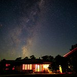 The night sky above the house, guest accommodation at the right