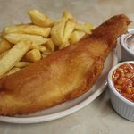 Fish and chips, gravy and beans.