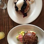 Ricotta Pancakes with Blueberry Compote, Lamb Burger
