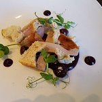 Assiette of duck smoked duck breast, leg terrine, liver parfait, black cherry compote
