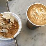 Affogato and latte.