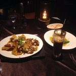 Nachos, pan seared barramundi with iced coffee